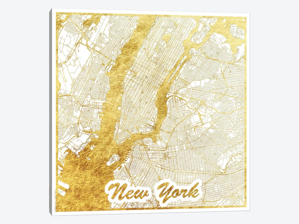New York Gold Leaf Urban Blueprint Map by Hubert Roguski 1-piece Art Print