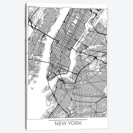 New York Minimal Urban Blueprint Map Canvas Print #HUR276} by Hubert Roguski Canvas Wall Art