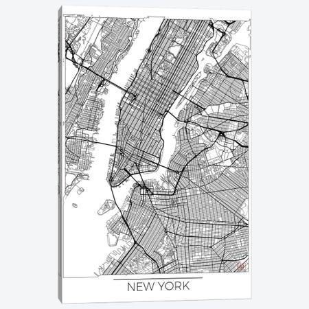 New York Minimal Urban Blueprint Map 3-Piece Canvas #HUR276} by Hubert Roguski Canvas Wall Art