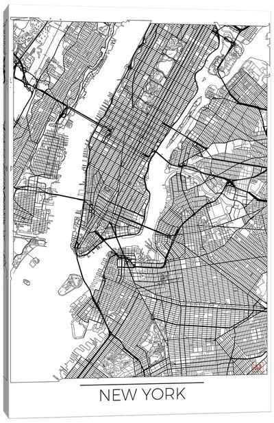 New York Minimal Urban Blueprint Map Canvas Art Print