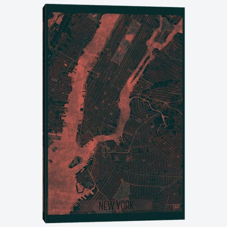 New York Infrared Urban Blueprint Map Canvas Print #HUR277} by Hubert Roguski Canvas Art