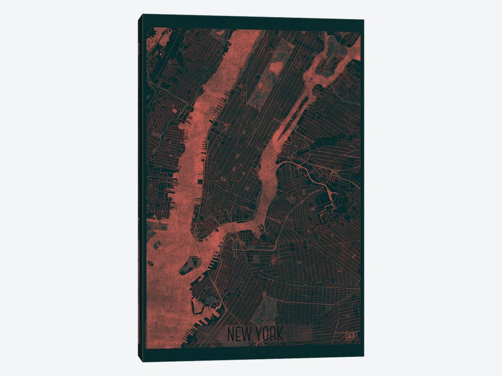 New York Infrared Urban Blueprint Map by Hubert Roguski 1-piece Canvas Print