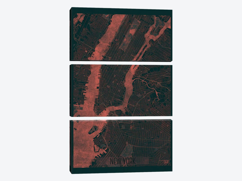 New York Infrared Urban Blueprint Map by Hubert Roguski 3-piece Canvas Art Print
