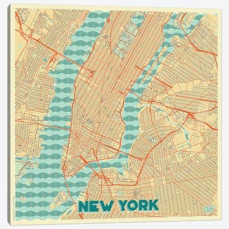 New York Retro Urban Blueprint Map Canvas Print #HUR278} by Hubert Roguski Canvas Art Print