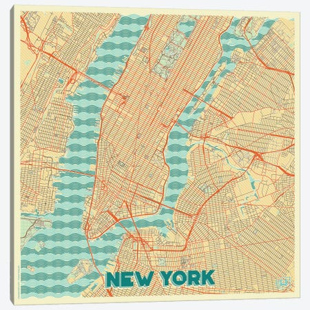 New York Retro Urban Blueprint Map 3-Piece Canvas #HUR278} by Hubert Roguski Canvas Art Print