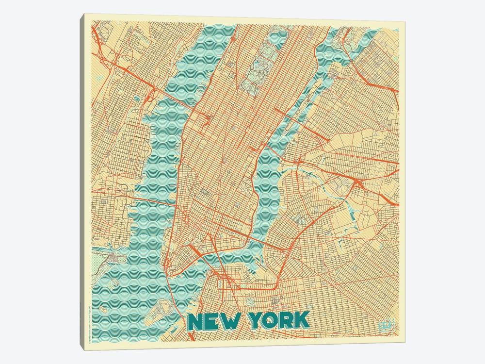 New York Retro Urban Blueprint Map by Hubert Roguski 1-piece Canvas Wall Art