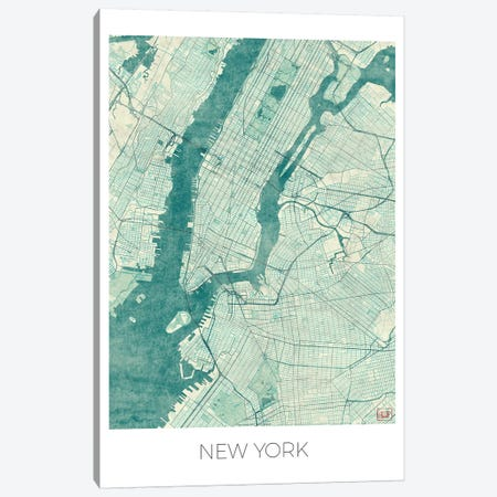 New York Vintage Blue Watercolor Urban Blueprint Map Canvas Print #HUR279} by Hubert Roguski Art Print