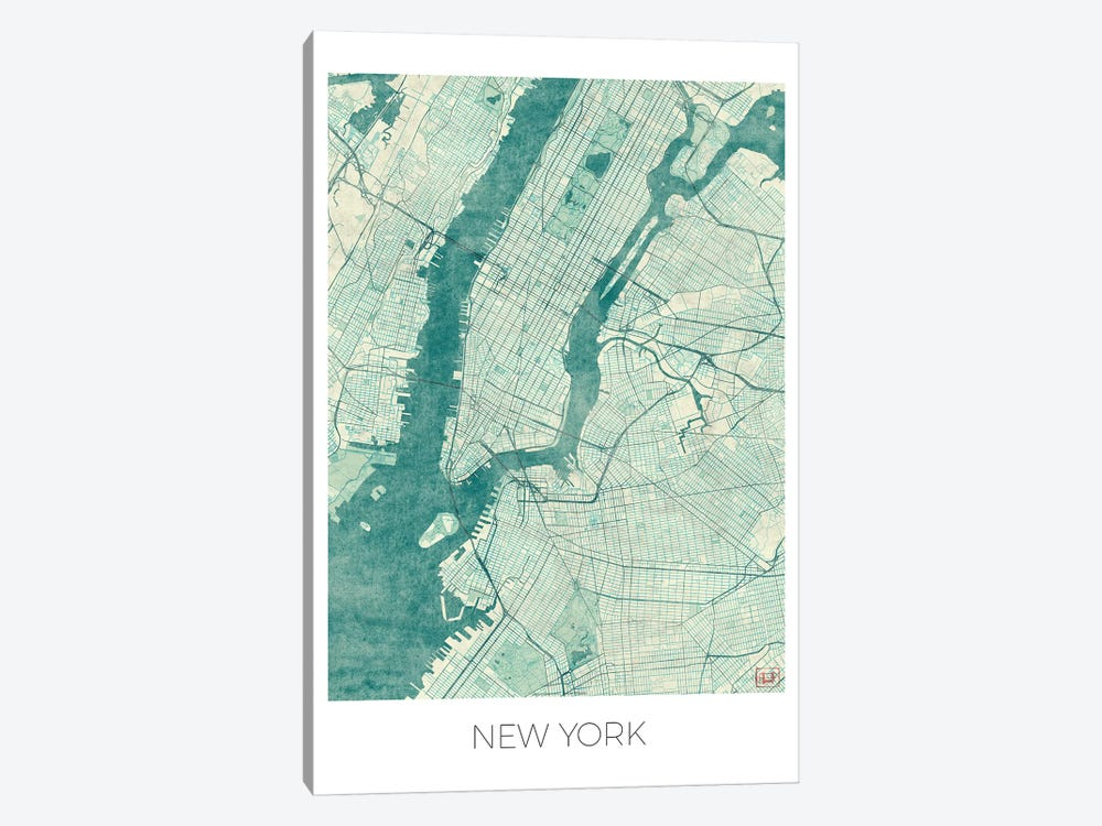 New York Vintage Blue Watercolor Urban Blueprint Map by Hubert Roguski 1-piece Art Print