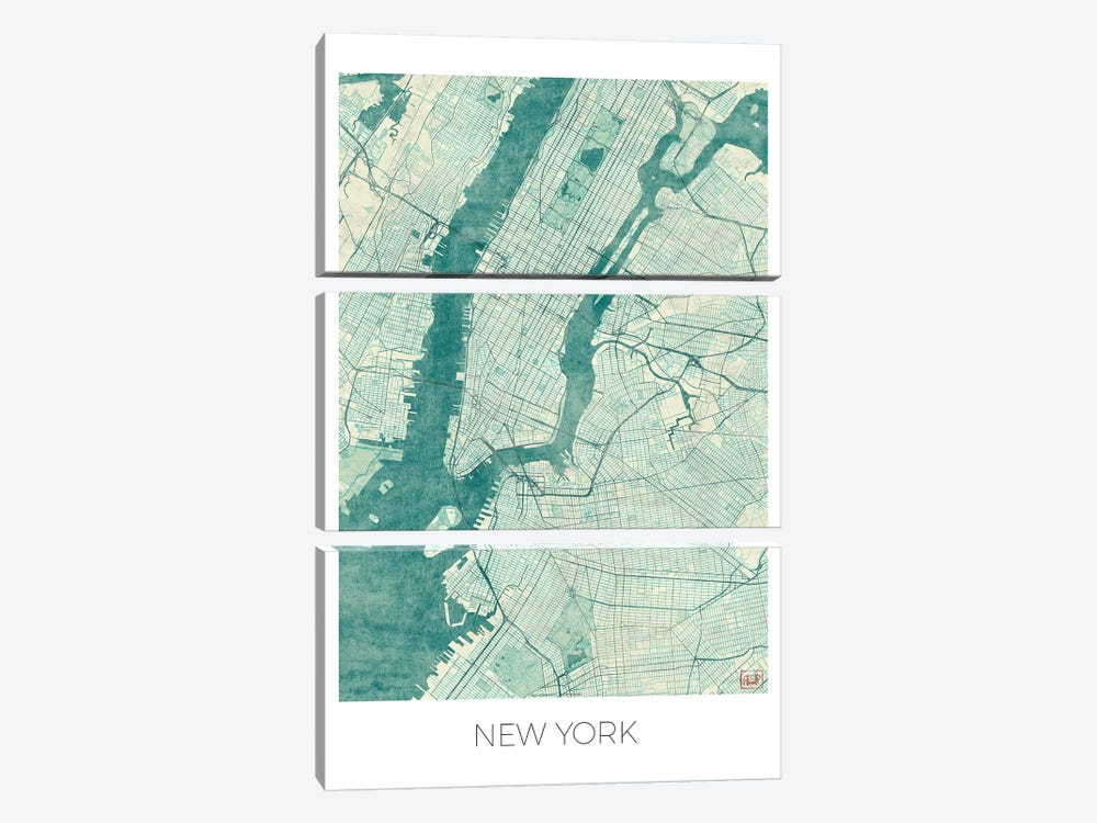New York Vintage Blue Watercolor Urban Blueprint Map by Hubert Roguski 3-piece Art Print