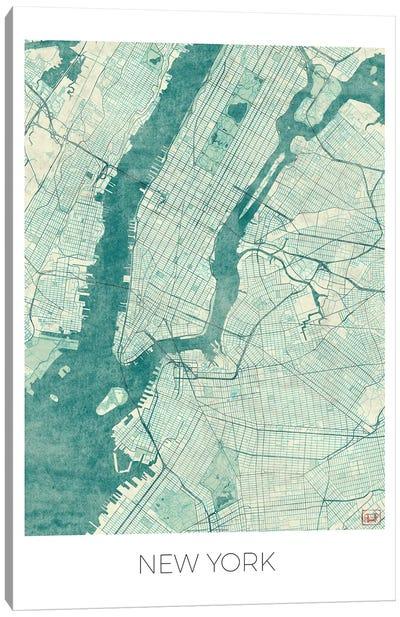 New York Vintage Blue Watercolor Urban Blueprint Map Canvas Art Print