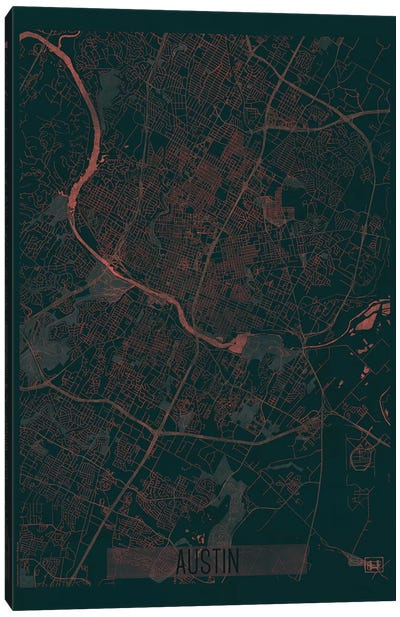 Austin Infrared Urban Blueprint Map Canvas Art Print