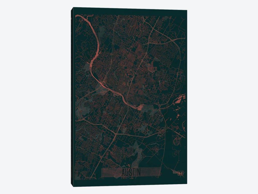 Austin Infrared Urban Blueprint Map by Hubert Roguski 1-piece Canvas Print