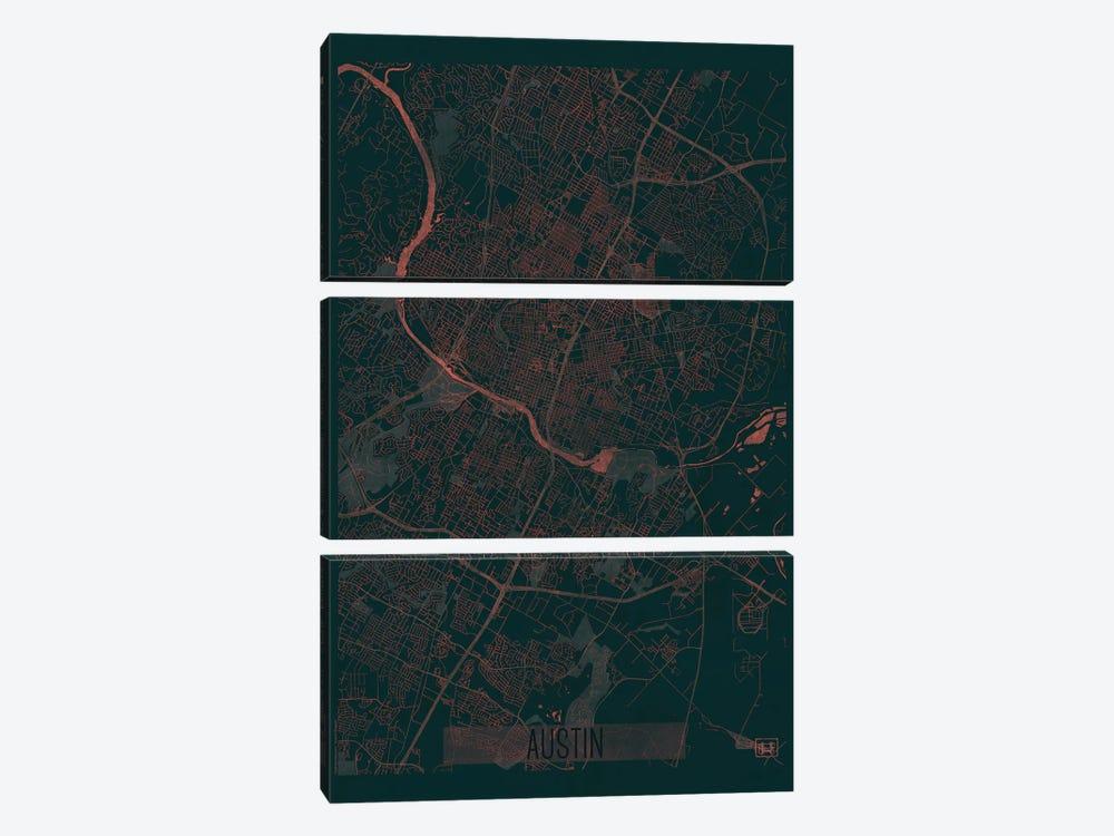Austin Infrared Urban Blueprint Map by Hubert Roguski 3-piece Canvas Art Print