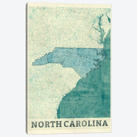 North Carolina Map Canvas Print #HUR280} by Hubert Roguski Canvas Art