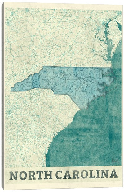 North Carolina Map Canvas Art Print