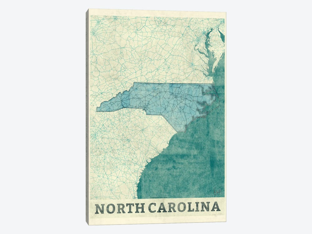 North Carolina Map 1-piece Art Print