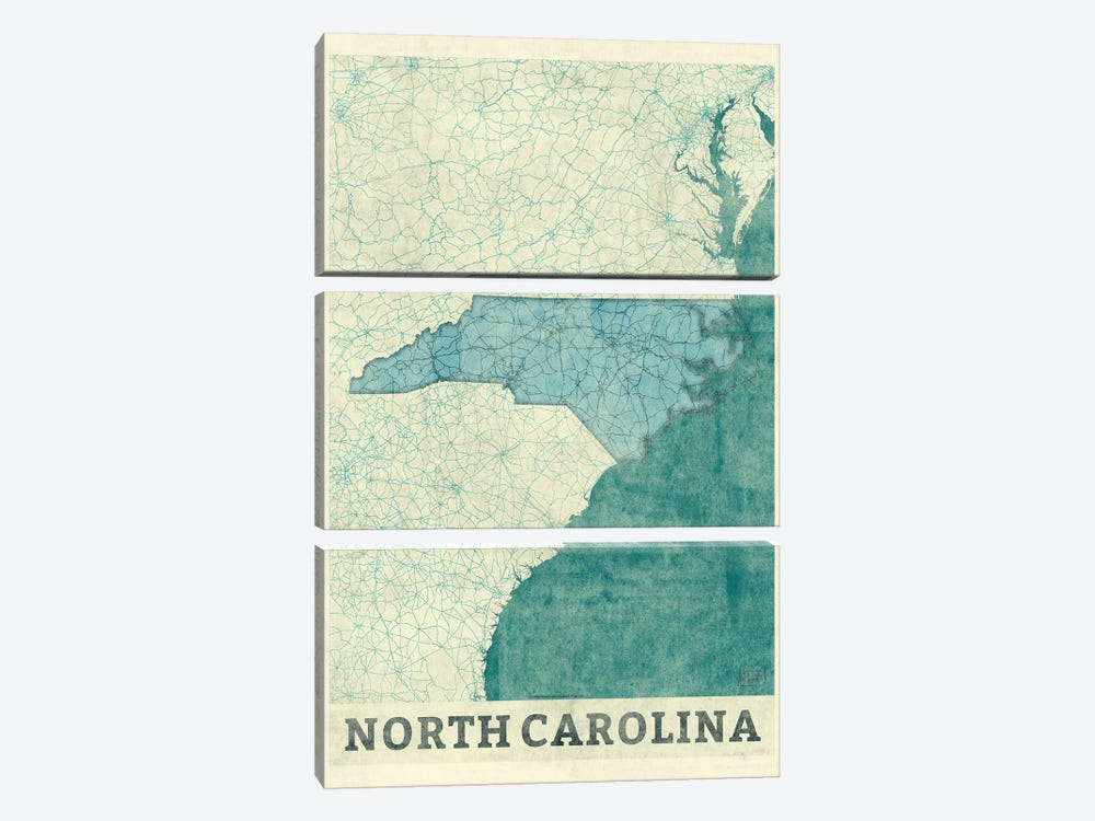 North Carolina Map 3-piece Canvas Print