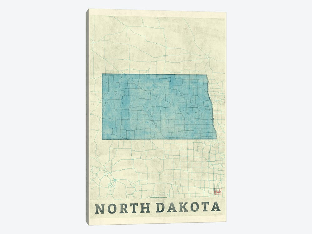 North Dakota Map by Hubert Roguski 1-piece Canvas Wall Art