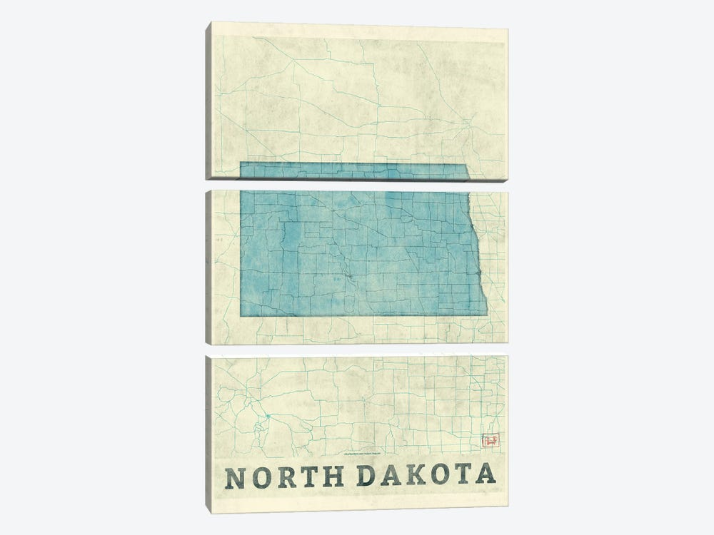 North Dakota Map by Hubert Roguski 3-piece Canvas Wall Art