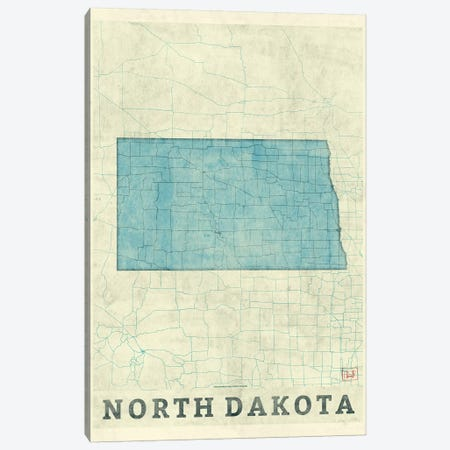 North Dakota Map 3-Piece Canvas #HUR281} by Hubert Roguski Canvas Art