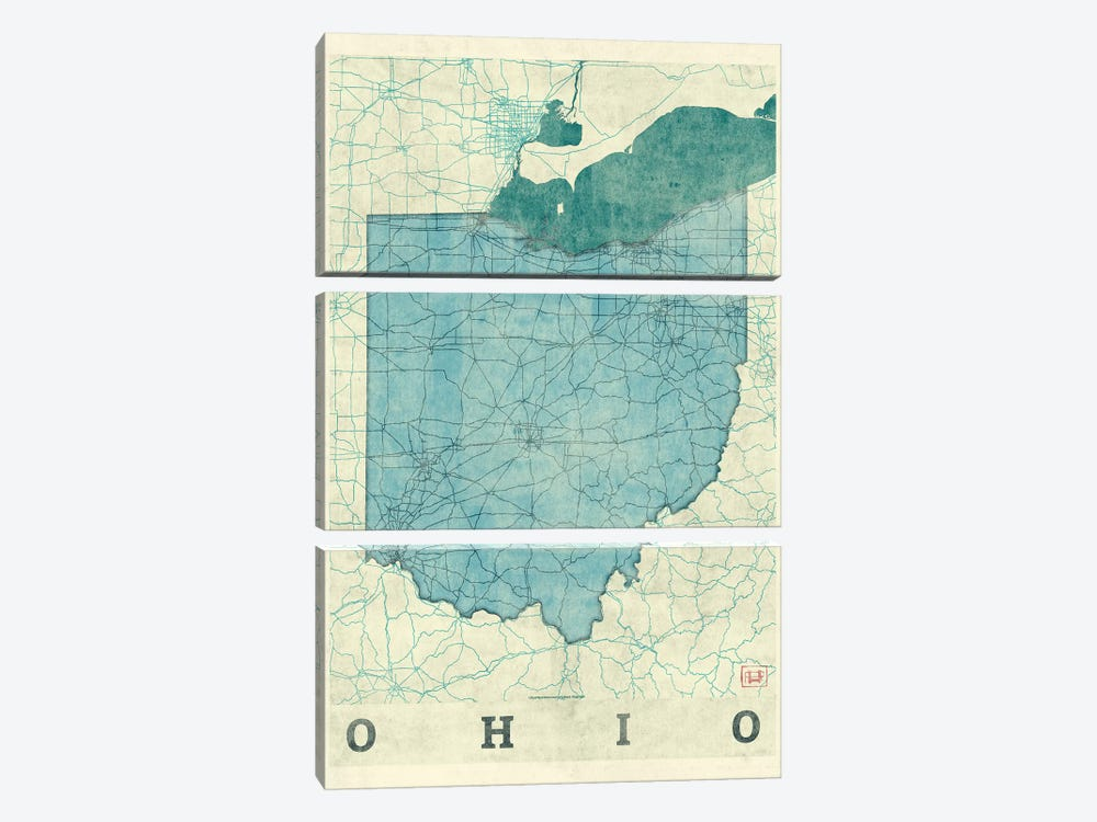 Ohio Map by Hubert Roguski 3-piece Art Print