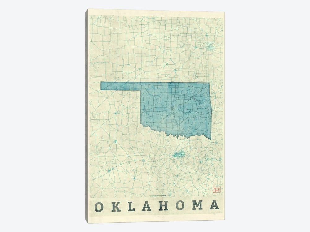 Oklahoma Map by Hubert Roguski 1-piece Canvas Artwork