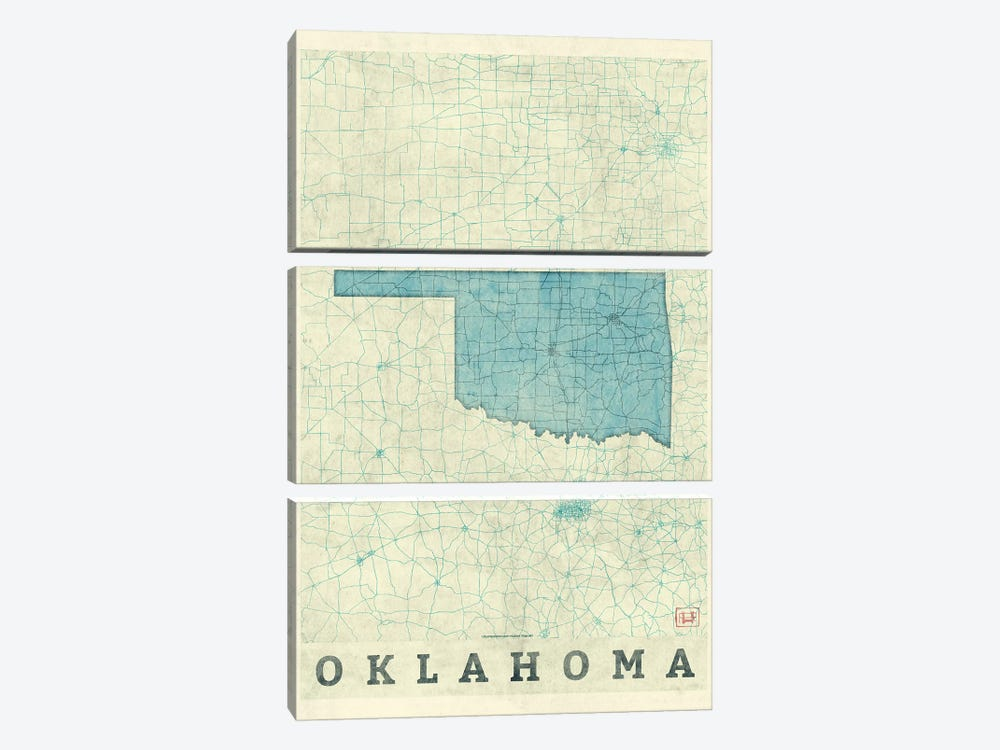 Oklahoma Map by Hubert Roguski 3-piece Canvas Artwork