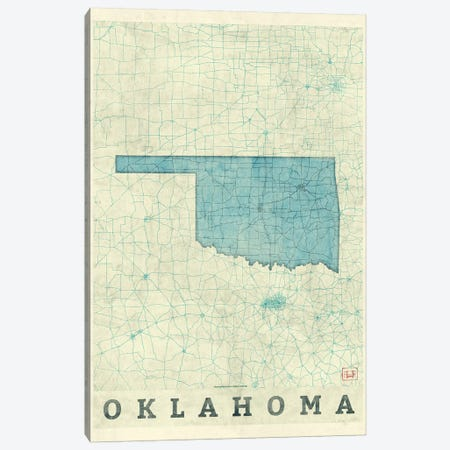 Oklahoma Map 3-Piece Canvas #HUR283} by Hubert Roguski Canvas Art