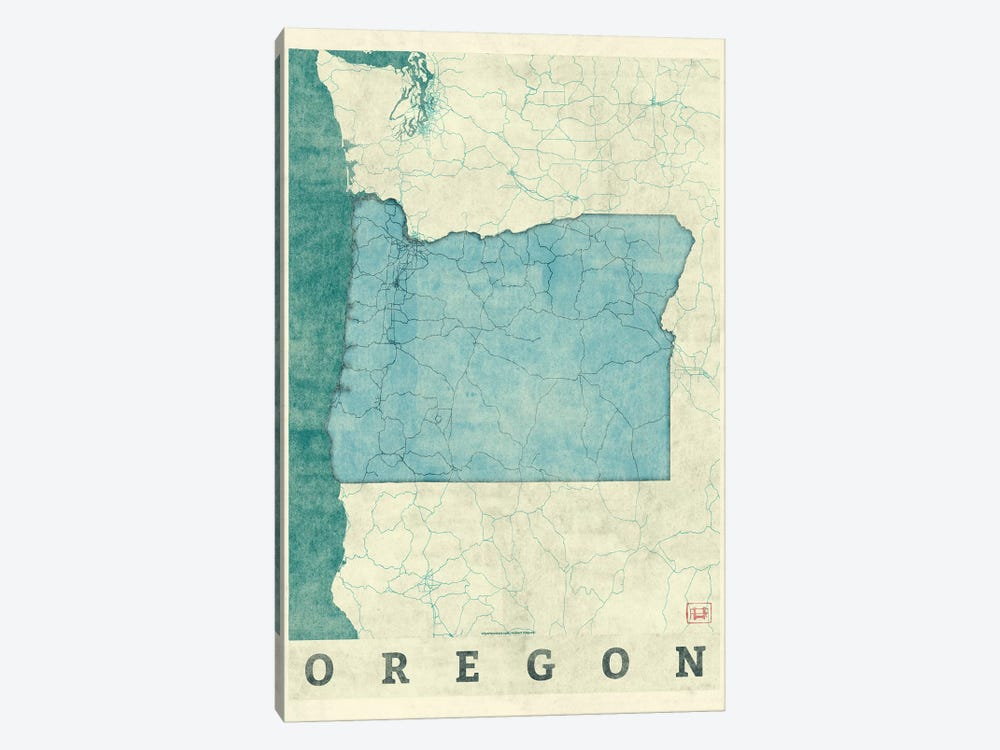 Oregon Map by Hubert Roguski 1-piece Canvas Art Print