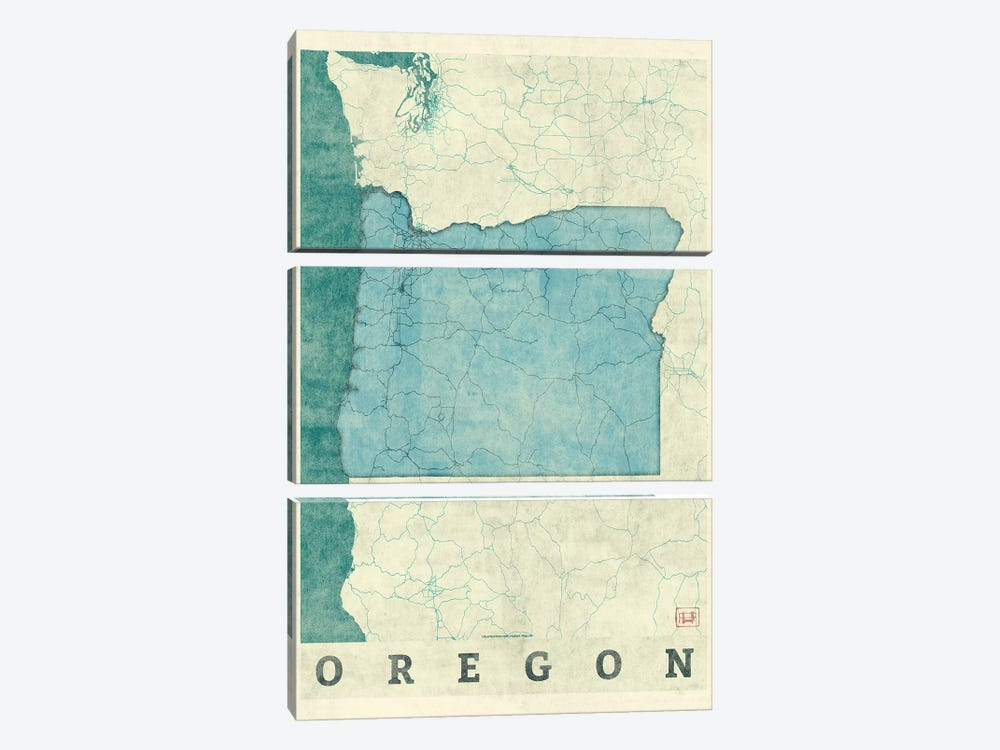 Oregon Map by Hubert Roguski 3-piece Art Print