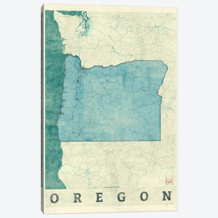 Oregon Map Canvas Print #HUR284} by Hubert Roguski Canvas Art Print
