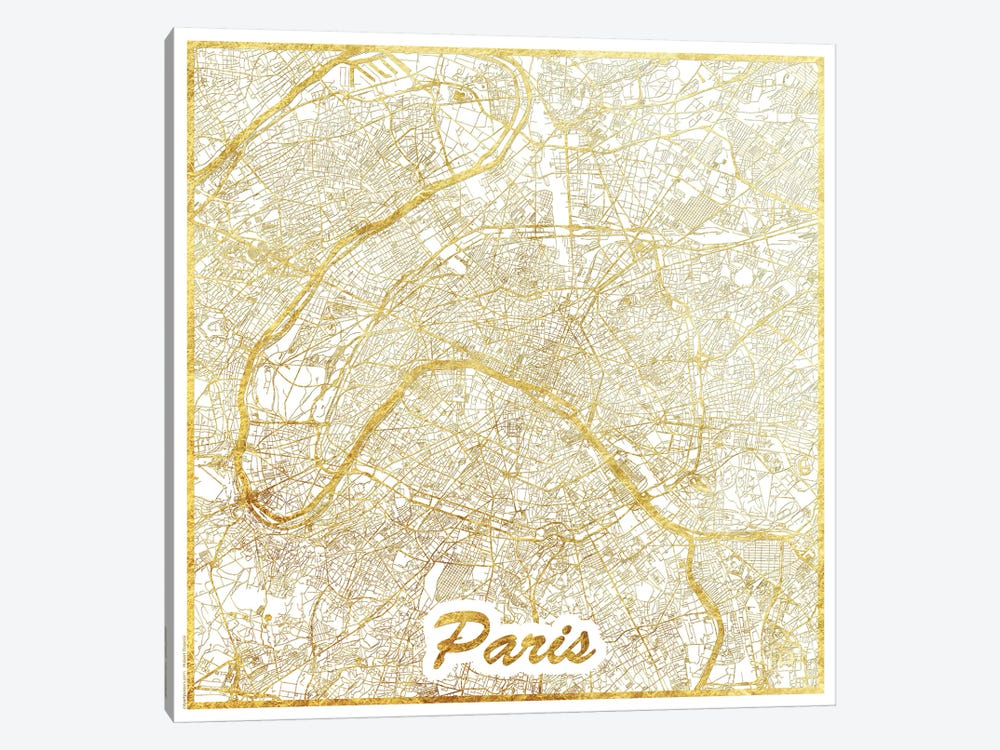 Paris Gold Leaf Urban Blueprint Map by Hubert Roguski 1-piece Canvas Artwork