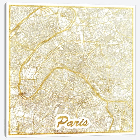 Paris Gold Leaf Urban Blueprint Map 3-Piece Canvas #HUR285} by Hubert Roguski Canvas Art Print