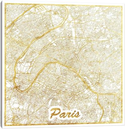 Paris Gold Leaf Urban Blueprint Map Canvas Art Print