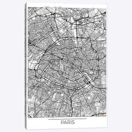 Paris Minimal Urban Blueprint Map 3-Piece Canvas #HUR286} by Hubert Roguski Art Print