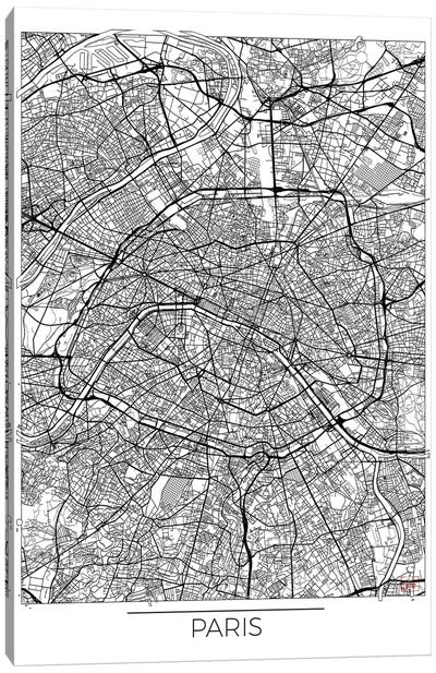 Paris Minimal Urban Blueprint Map Canvas Art Print