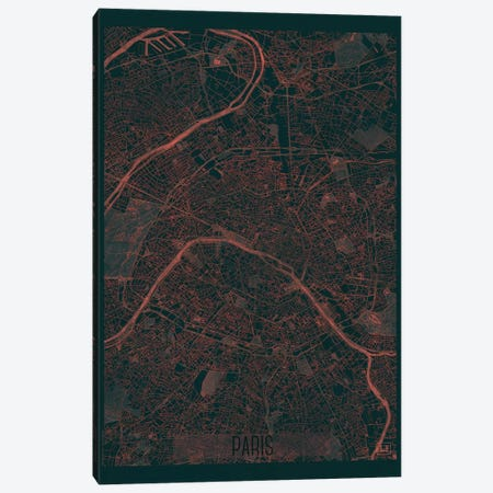 Paris Infrared Urban Blueprint Map 3-Piece Canvas #HUR287} by Hubert Roguski Canvas Print