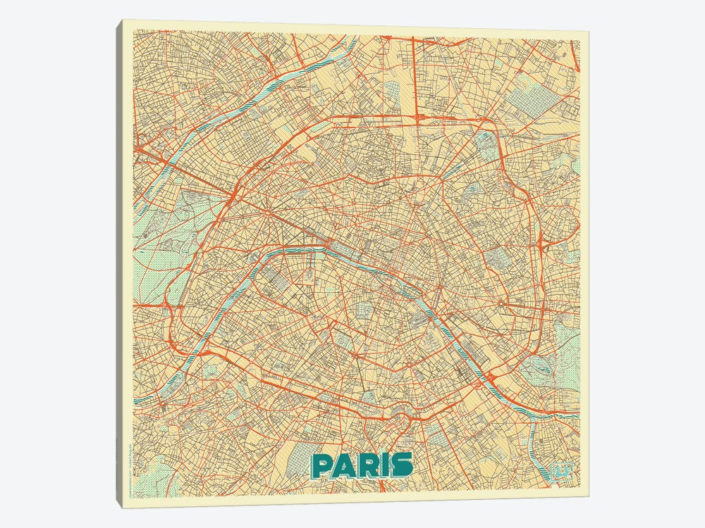 Paris Retro Urban Blueprint Map by Hubert Roguski 1-piece Art Print