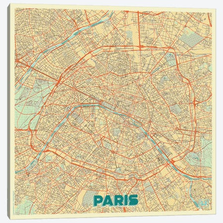 Paris Retro Urban Blueprint Map 3-Piece Canvas #HUR288} by Hubert Roguski Canvas Wall Art