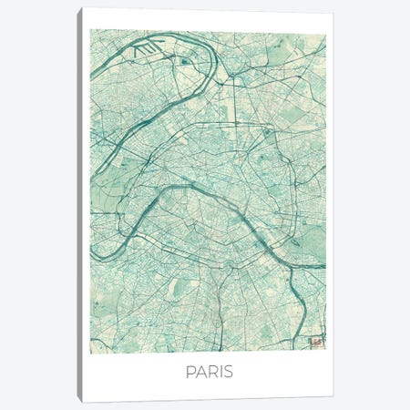 Paris Vintage Blue Watercolor Urban Blueprint Map 3-Piece Canvas #HUR289} by Hubert Roguski Canvas Art