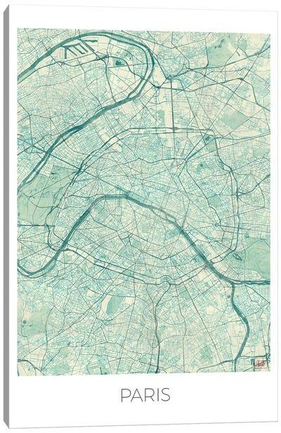 Paris Vintage Blue Watercolor Urban Blueprint Map Canvas Art Print