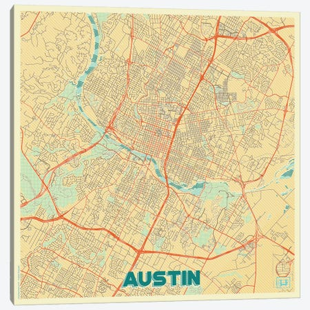Austin Retro Urban Blueprint Map Canvas Print #HUR28} by Hubert Roguski Canvas Print
