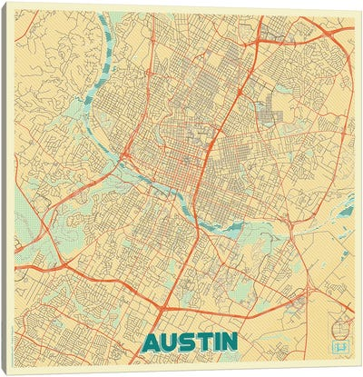 Austin Retro Urban Blueprint Map Canvas Art Print