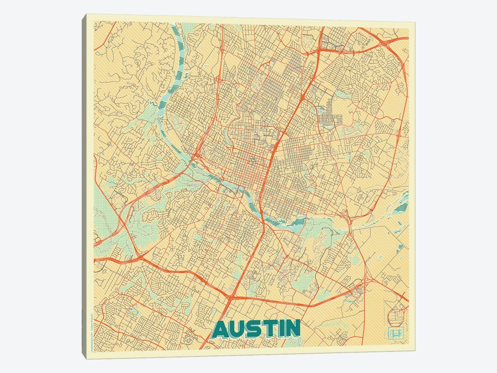 Austin Retro Urban Blueprint Map by Hubert Roguski 1-piece Canvas Art