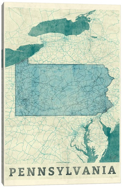 Pennsylvania Map Canvas Art Print