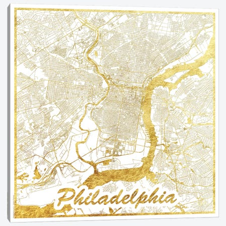 Philadelphia Gold Leaf Urban Blueprint Map Canvas Print #HUR291} by Hubert Roguski Canvas Art Print