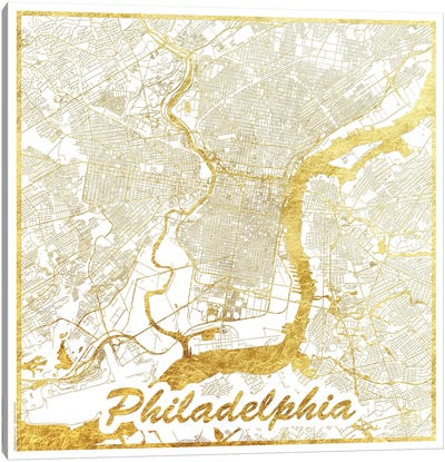 Philadelphia Gold Leaf Urban Blueprint Map Canvas Art Print