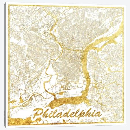 Philadelphia Gold Leaf Urban Blueprint Map Canvas Print #HUR291} by Hubert Roguski Canvas Art Print