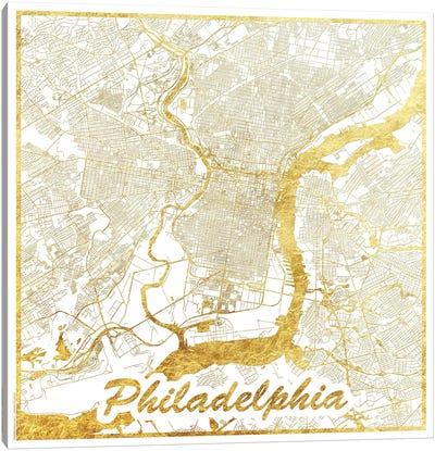 Philadelphia Gold Leaf Urban Blueprint Map Canvas Art Print