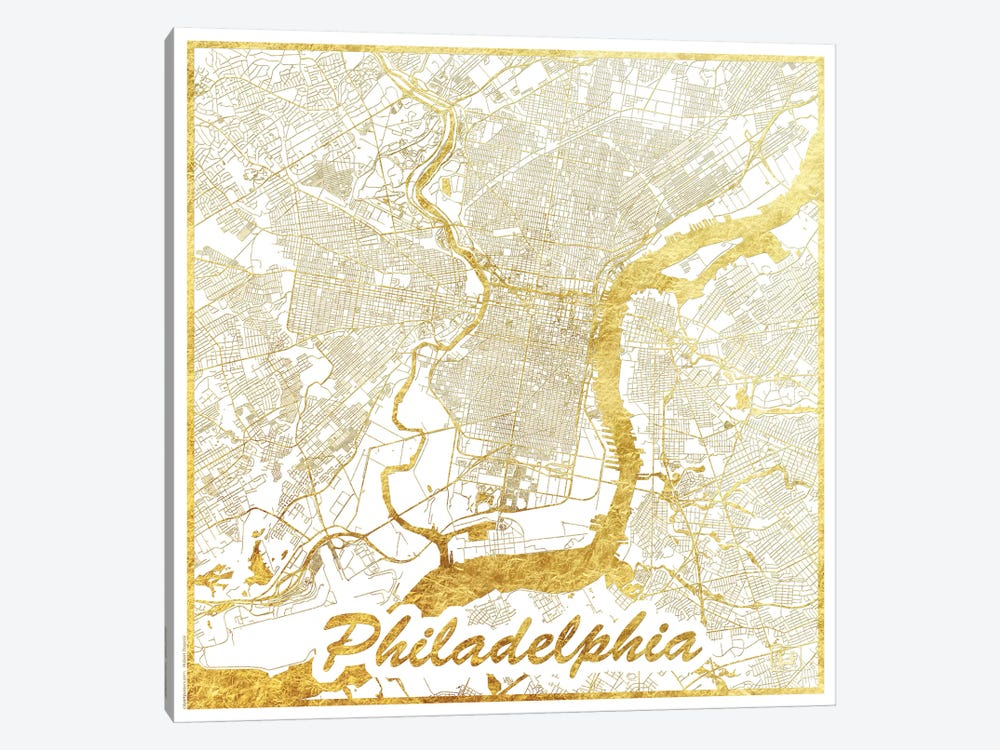 Philadelphia Gold Leaf Urban Blueprint Map by Hubert Roguski 1-piece Art Print